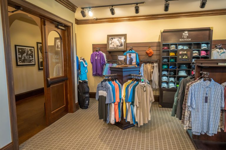 Items for sale at the Golf Shop inside the Jack Nicklaus Clubhouse.